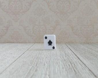 Black Spades Playing Card Pin- Lapel Pin- Tie Tack or Lapel Pin