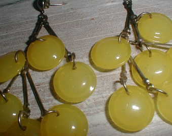 Long Dangling Earrings With Yellow Discs *Fun Design*