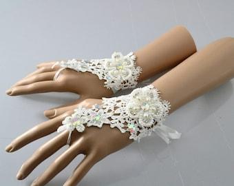 Swarovski Crystal Lace Crochet Vintage wrist Ivory Bridal Fingerless Gloves with silk Tie backs