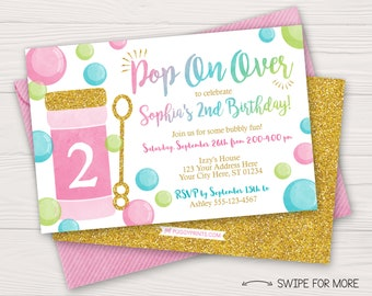 Bubble Birthday Invitation | Bubble Birthday Party Invitations | Pink, Lime Green, Aqua, and Gold Watercolor | Personalized & Printable