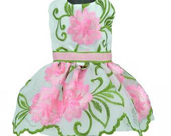 Pink Embroidered Flower Dog Harness Dress