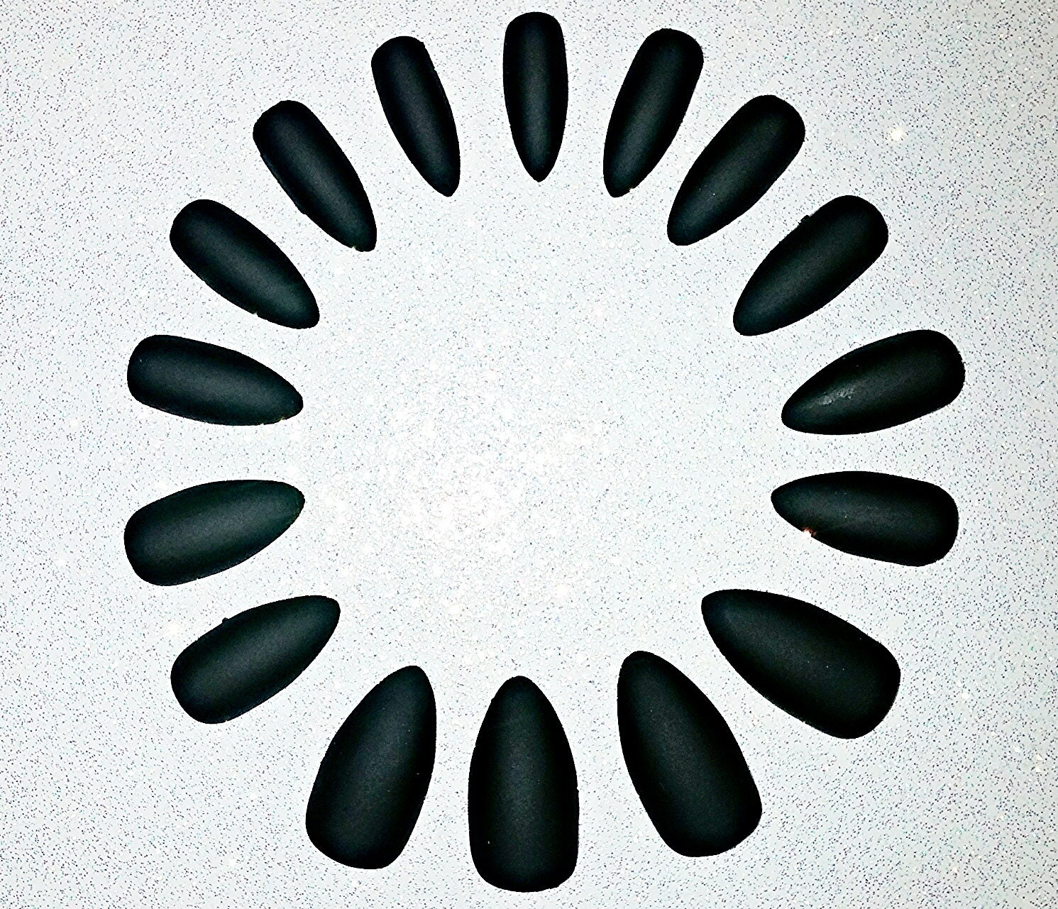 Black Matte Stiletto Nails Fake Nails Press on Nails Glue