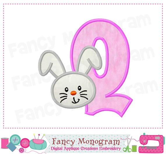 Easter Bunny Monogram Q Appliqueeaster Bunny Letter Q