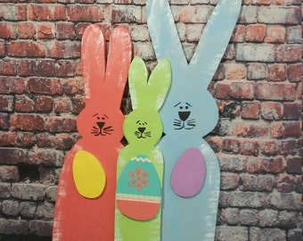 Easter Decoration, Easter Door Hanger , Easter Rabbits and Eggs,Wooden Decoration, Handmade