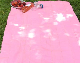 Vintage Aso Oke Tribal Textile, Yoruba Tribe, Nigeria, Solid Pink Strip Cloth, Boho Fabric Wall Hanging, Picnic Blanket, Bohemian Home Decor