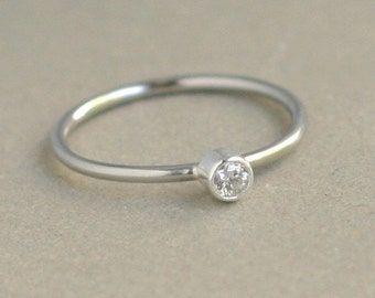 white gold diamond ring / engagement ring. 14k PALLADIUM solid white gold. ONE gemstone ring. gift for her. wedding ring. diamond solitaire.