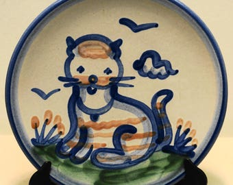 """M. A. HADLEY Hand Painted Earthenware Cat Bread & Butter Plate 6"""""""