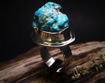 Natural Turquoise Nugget Ring- Cripple Creek Turquoise Nugget- Colorado Turquoise