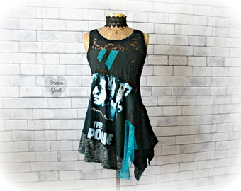 Black Lace Tank 80's Band Shirt DIY Women's Top Festival Clothing Art Fashion Draped Layered Sheer Sexy Top Upcycled Clothes Small 'ROXANNE'