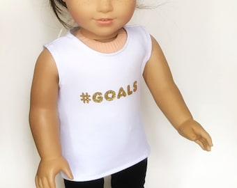 """Personalized Tank Tops fitting 18"""" dolls such as American Girl and Our Generation"""