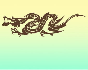 Vinyl Wall Decal: Horizontal Chinese Dragon HDR010
