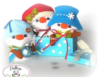 Christmas Ornament Pattern-Mr. Hats-Snowman Ornament Pattern-Set of Snowman and his Three Hats-PDF-Felt ornaments pattern-DIY
