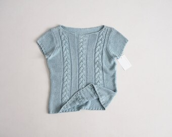silk & cotton | sea glass sweater | short sleeve sweater
