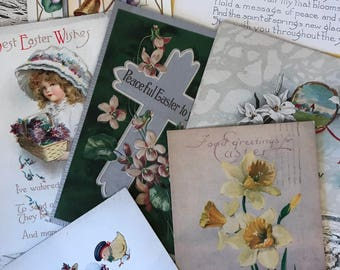 7 Vintage Easter Postcards - 1900-1920 - Beautiful for Place Cards, Mixed Media and Crafts