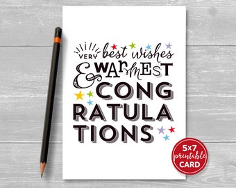 "Printable Congratulations Card - Very Best Wishes & Warmest Congratulations - 5""x7""- Includes Printable Envelope Template - Instant Download"