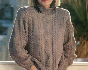 Ladies Knitting Pattern - Cable Knit Sweater - 28 to 42 inches