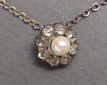 Antique Pearl and 8 Rose Diamond stick pin conversion
