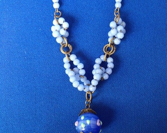 Venetian Blue and White Glass Necklace