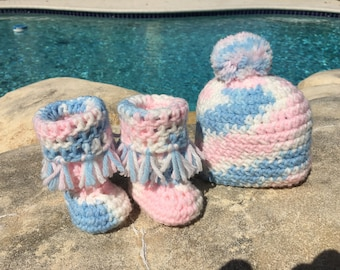 Crocheted Newborn hat and booties set