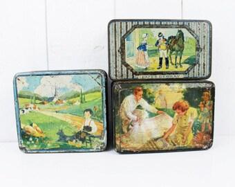 Boîte de rangement, récipients de stockage, vieux Français Tin Box, étain Antique, boîte Français, Antique boîte à bonbons, Tin Collectibles, bergamote, boite de Pastille