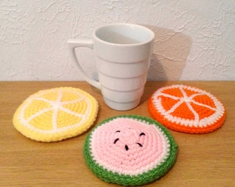 Fruit Coasters, Crochet Summer Drinkware, Orange Coaster, Yellow Lemon Coaster, Watermelon Coaster, Set of 3 Coasters