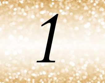 Gold Glitter Table Numbers 1 -25