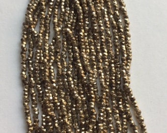 RARE  Antique Metal Cut Beads  - Made in France - Light Gold - 1 Partial hank