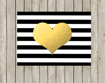 5x7 Modern Heart Printable  // Gold Faux Foil Print // Black and White Stripes // Modern Wall Art // Home Decor // Instant Digital Download