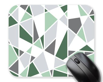Geometric mouse pad, green mousepad, triangles, modern mouse pad, mouse mat, round mousepad, rectangle mousepad