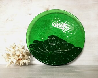 Lotus artistic and stylish fused glass plate from the flowers collection