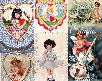 Pretty Blue Valentine,  Printable Collage Sheet (digital download, printable)