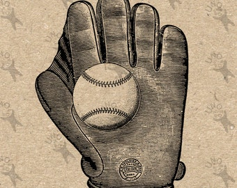 Vintage Baseball Glove black and white image Instant Download Digital printable picture clipart graphic - transfer, burlap, iron on 300dpi