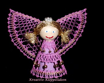 Hand gekloeppelter Angel in pink and gold