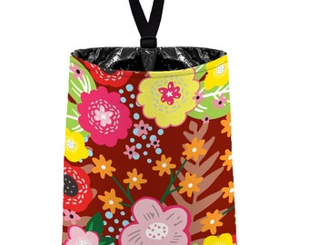 Car Trash Bag // Auto Trash Bag // Car Accessories // Car Litter Bag Car Garbage Bag - Floral Burst - Maroon Car Organizer Flower Yellow