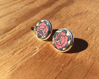 Tattoo Rose:wood Stud Earring