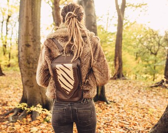 Unique Handmade leather and suede backpack style (small)