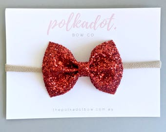 Red Bow Headband | Red Glitter Bow | Baby Headband | Red Bow | Christmas Headband | Valentines Headband | Baby Headband | Red Baby Headband