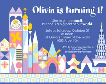 it's a small world birthday party stationery collection - printable 4x6 or 5x7