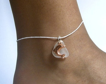 Sea glass anklet. Pink dolphin anklet. Ocean beach sea glass jewelry
