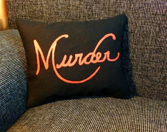 "Sherlock ""Murder"" Mini Pillow, Sherlock BBC, Geek Pillow, Home Decor"