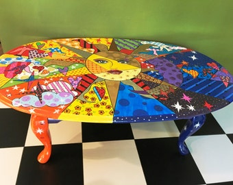 Delightful Hand Painted Celestial Theme Coffee Table