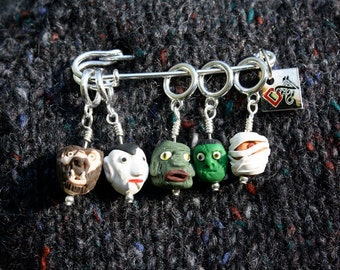 Old Hollywood Monster Stitch Markers (Set of 5)