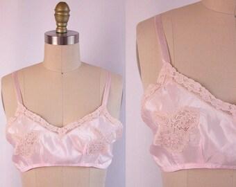 1920s Bra ~ 20s Pink Silk & Alencon Lace Flapper Bralette ~ Frilly and Feminine Boudoir Lingerie ~ Excellent Condition ~ Size 36 A