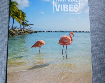 poster A4 Flamingo Pink tropical vibes Beach poster