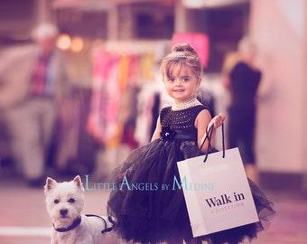 Audrey Hepburn tutu dress, little black dress tutu dress, black flower girl dress, princess dress, crochet top tulle dress, black wedding