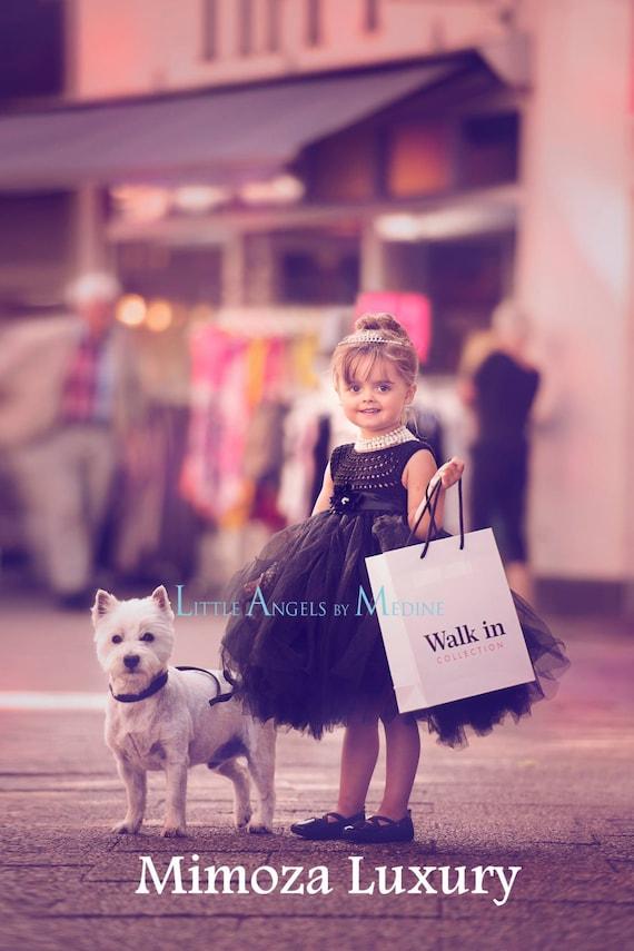 Black Flower girl dress, little black dress tutu dress, bridesmaid dress, princess dress, crochet top tulle dress, hand knit top tutu dress