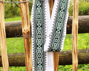 Handfasting * wedding * ritual * linen * Celtic braid, white * green * handmade