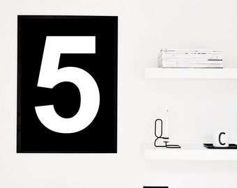 "Number 5 Nursery Art Print, Wall Decoration XXL Poster Black and White Scandinavian print 70x100, 50x70, 24x36"" A4"