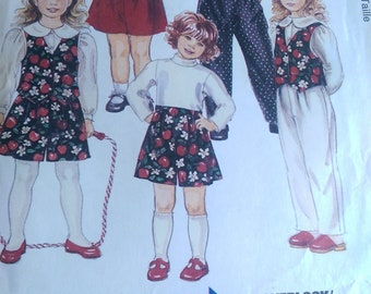 McCall's  Paper Pattern 7795, Childrens Lined Vest, Blouse, Pull On Pants or Shorts, Size 4-5-6, Uncut, Sewing Instructions, Ships Worldwide