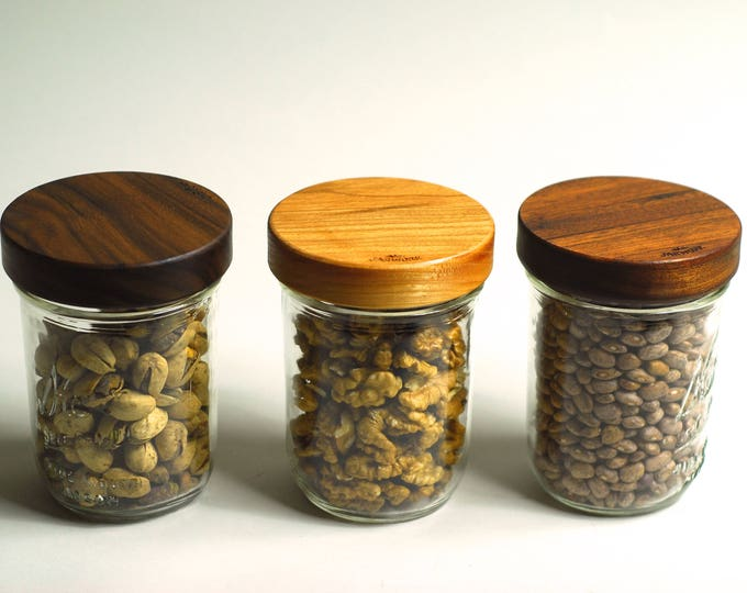 Three Wooden Screw-top Mason Jar Lids  - Wide Mouth - Your Choice of Wood.